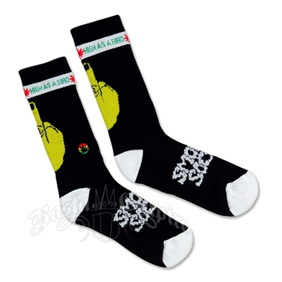 High As A Bird Smokey Socks – Black