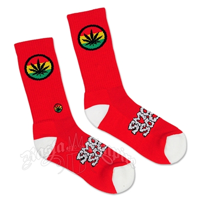 Red and White Rasta Badge Smokey Socks