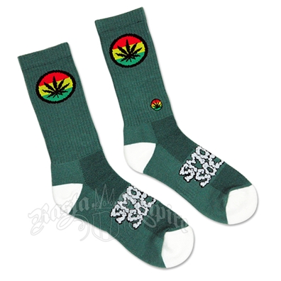 Green and White Rasta Badge Smokey Socks