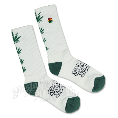 White and Green Pot Leaf Smokey Socks