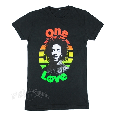 Bob Marley One Love Peace Black T-Shirt - Women's