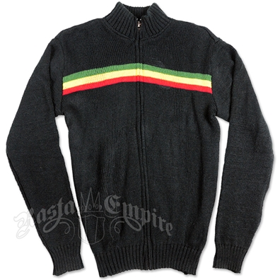 Rasta Stripe Full-Zip Black Sweater – Men's