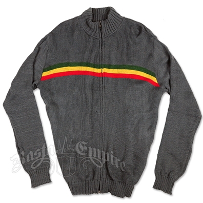 Rasta Stripe Full-Zip Grey Sweater – Men's