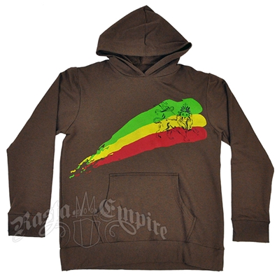 Rasta Lion Stripe Brown Hoodie – Men's