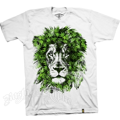 RastaEmpire Lion Marijuana Leaves White T-Shirt – Men's