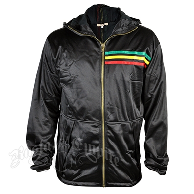 Rasta Stripe Black Track Jacket Hoodie – Men's