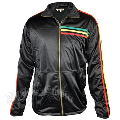 Rasta Stripe Black Track Jacket – Men's