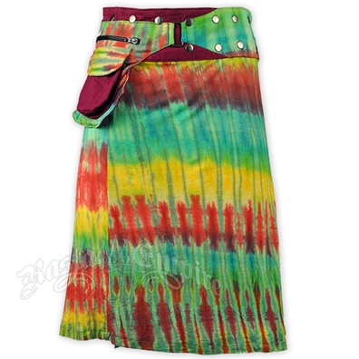 Maroon Tie Dye Short Wrap And Snap Skirt