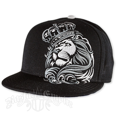 Lion and Crown Black and Silver Cap
