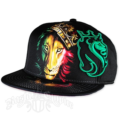 Fierce Rasta Lion and Crown Cap