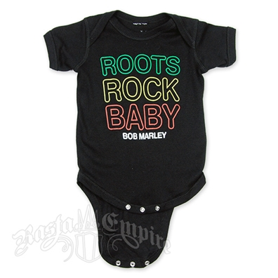 Bob Marley Roots Rock Baby Creeper - Black