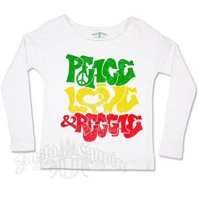 RastaEmpire Peace Love & Reggae White Long Sleeve Top – Women's