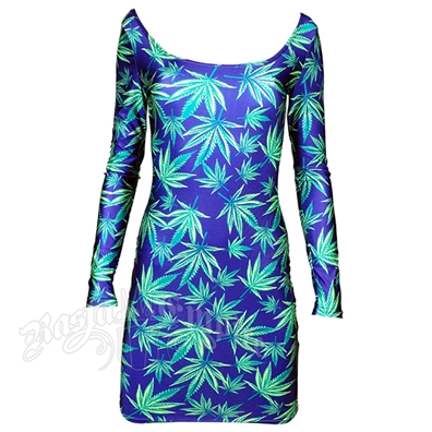 Bud Leaves Long Sleeve Mini Dress