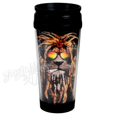 Rasta DJ Smokin Lion 16 OZ Travel Mug
