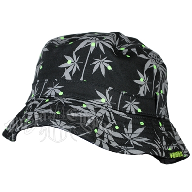 Pot Leaf Black & Grey Bucket Hat