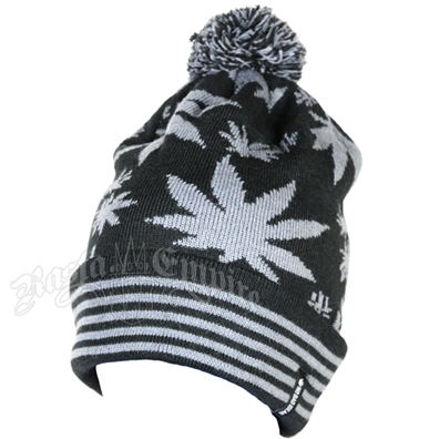 Pot Leaf Puff Ball Black/Grey Ski Cap