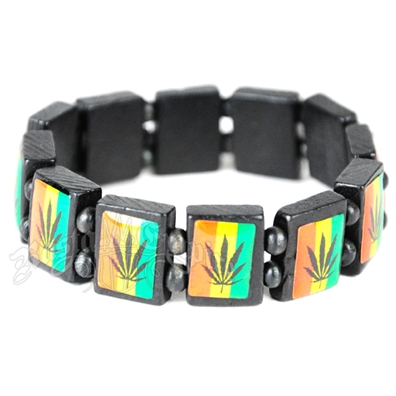 Rasta Colors Leaf Bracelet