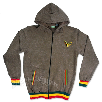 Rasta Star Of David Brown Hoodie - Men's