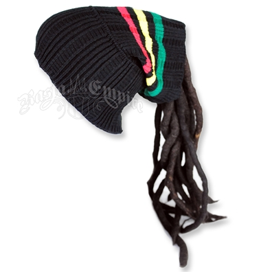 Rasta Dreadlock Tube Beanie / Hat - Black