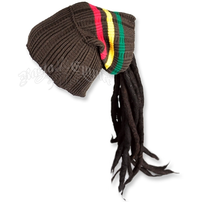 Rasta Dreadlock Tube Beanie / Hat - Brown