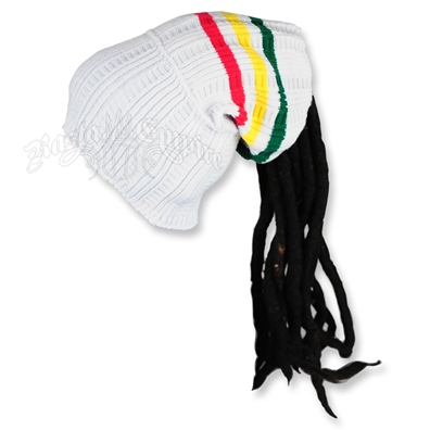 Rasta Dreadlock Tube Beanie / Hat - White