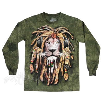 Rasta DJ Lion Olive Green Tie Dye Long Sleeve T-Shirt - Men's