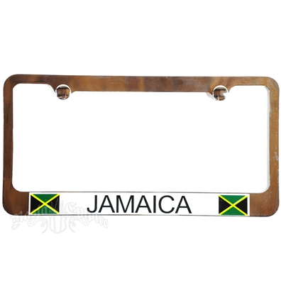 Jamaican Chrome License Plate Frame with White Border