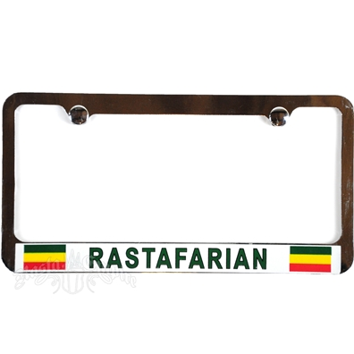 Rastafarian Chrome License Plate Frame with White Border