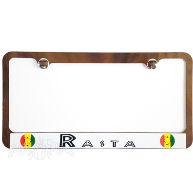 Rasta Chrome License Plate Frame with White Border