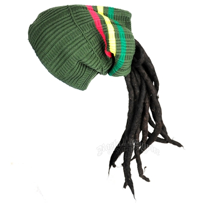 Rasta Dreadlock Tube Beanie/Hat - Green