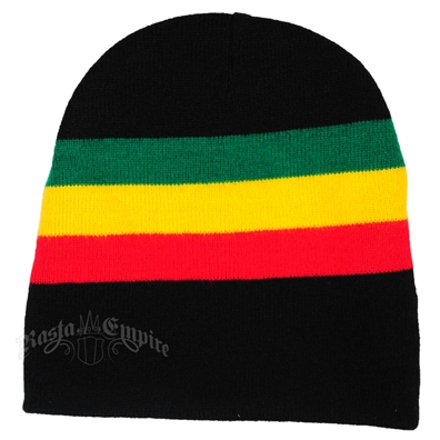 "Rasta Stripes with Black 8"" Beanie Cap"