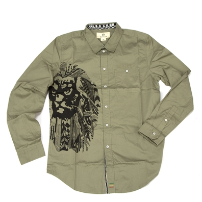 Marley Ikat Lion Light Olive Button Down Shirt – Men's