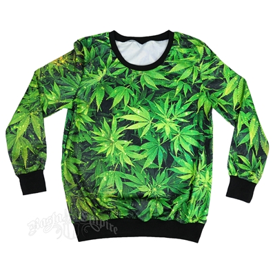 Marijuana Leaf Longsleeve Shirt – Women's