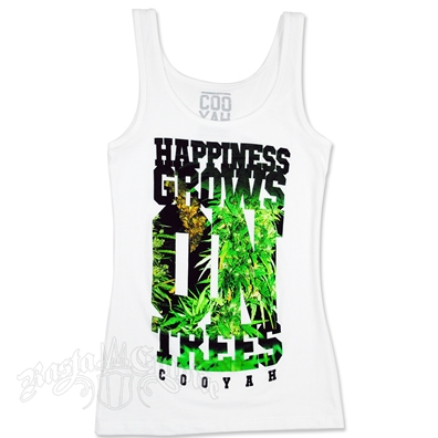 Happiness Grows On Trees White Tank Top - Women's