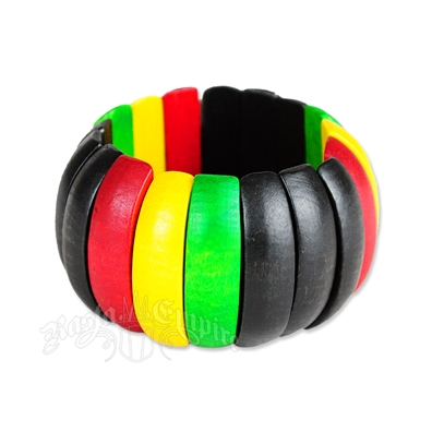 Rasta Curved Wood Stretch Bracelet