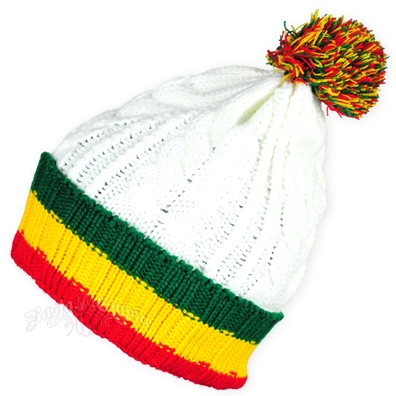 Rasta Striped Cuff Puff Ball White Beanie Ski Cap