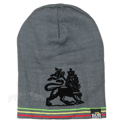 Bob Marley Rasta Lion Reversible Long Grey Beanie