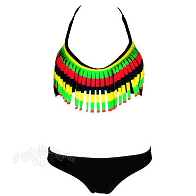 Rasta Triangle Top With Fringe & Brazilian Bottom Swimsuit