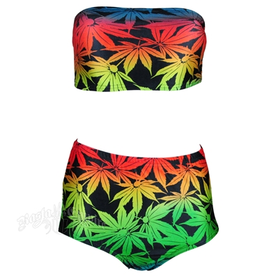 Marijuana Leaf Bandeau Top and High Waist Bottom Swimsuit