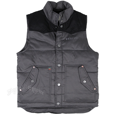 Marley Marijuana Leaves Charcoal Puffer Vest - Men's
