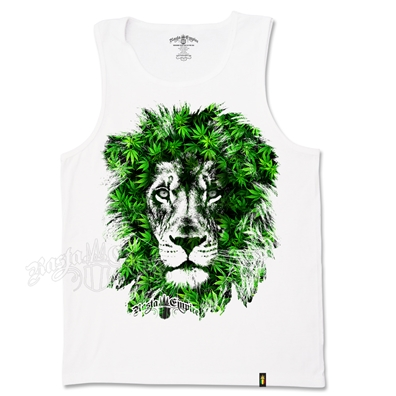 RastaEmpire Lion Marijuana Leaves White Tank Top – Men's