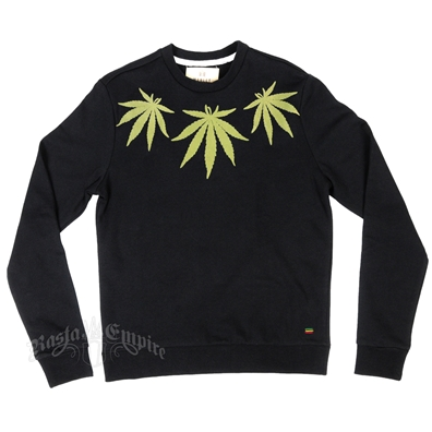 Marley Marijuana Leaves Black Sweater - Men's