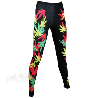 Rasta weed leggings