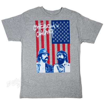 Cheech & Chong American Flag Heather Grey T-Shirt - Men's