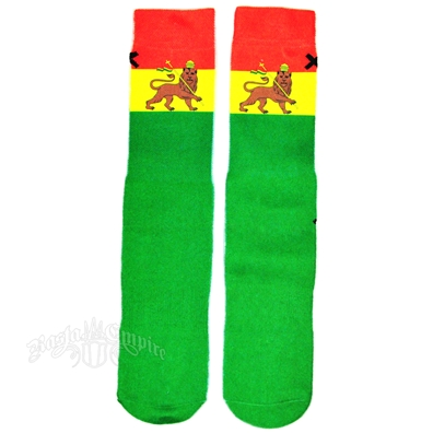 Rasta Lion of Judah Green Socks