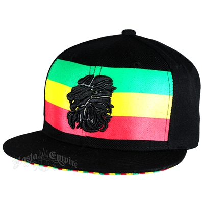 Rasta Stripe Black Emproidered Lion Head Black Cap