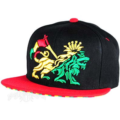 Rasta Tribal Embroidered Lion Of Judah Black With Red Brim Cap
