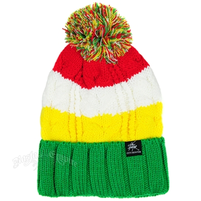 Rasta Three Tone With Green Cuff Puff Ball Beanie