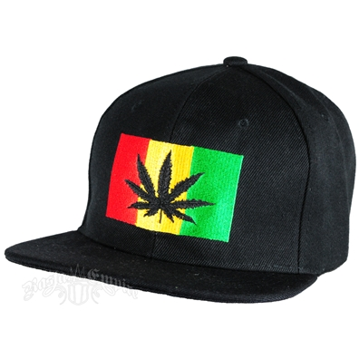 Black Leaf Rasta Flag Black Cap