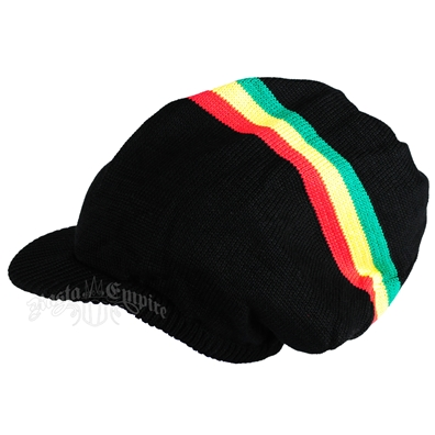 Black Brim Rasta Stripe Long Beanie